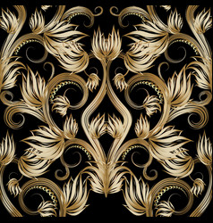 beautiful gold 3d floral seamless pattern vector image