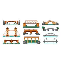 Bridges color icon set vector