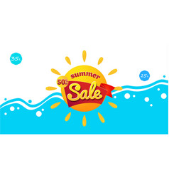 bright blue banner summer sale vacation and vector image