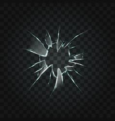 broken window hole transparent glass vector image