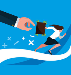 Business woman running with portfolio vector