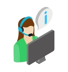 Call center operator icon isometric 3d style vector