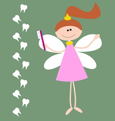 Card with the tooth fairy girl with wings and vector