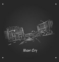 Cars on night city road sketch for your design vector