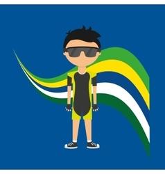 cartoon cycling player brazilian label vector image