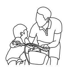 child learning to ride a bike with his father vector image