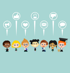 children social media set vector image