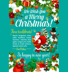 christmas gift and new year present greeting card vector image
