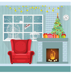christmas interior in flat styledecorate room vector image