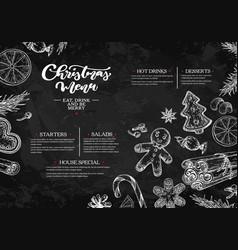 Christmas menu chalkboard restaurant and cafe vector