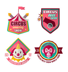 circus logo labels in colors isolated on white vector image