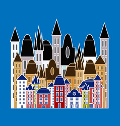 city landscape urban skyline colored buildings vector image