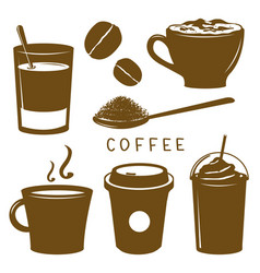 Coffee cup breakfast icon brown cartoon vector