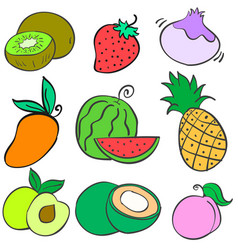 Collection stock fruit various doodles vector