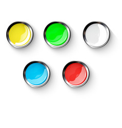 colored buttons with metallic elements eps 10 vector image