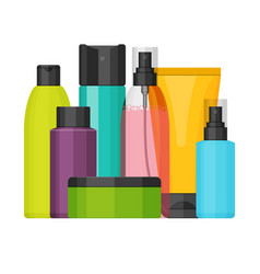 Colorful cosmetic bottles set flat design vector