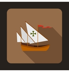 Columbus ship icon flat style vector