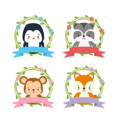 cute animals wreath flower vector image