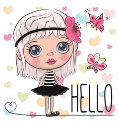 cute cartoon girl with a flower vector image