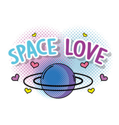 Cute planet with hearts to space love vector