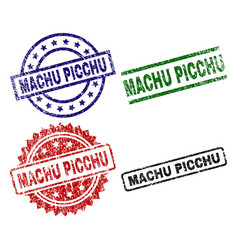 Damaged textured machu picchu seal stamps vector