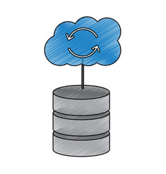 database with cloud storage data center icon image vector image