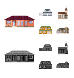 design of building and front icon set of vector image