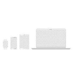 Device mockups realistic white laptop smartphone vector