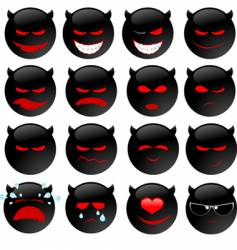 Devil's smiles set one vector