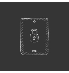 Digital tablet security Drawn in chalk icon vector