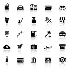 E wallet icons with reflect on white background vector