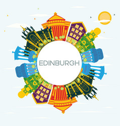 edinburgh scotland city skyline with color vector image