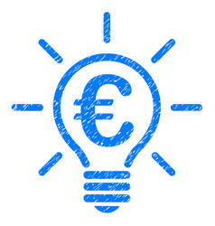 euro idea bulb icon grunge watermark vector image