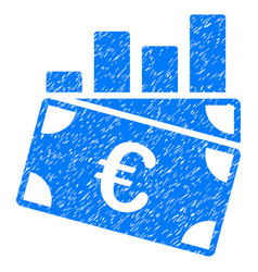 Euro sales chart grunge icon vector