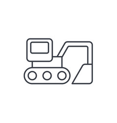excavator thin line icon linear symbol vector image