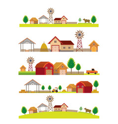 Farm and building landscape skyline set vector