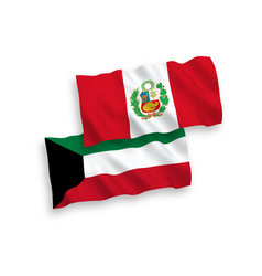 Flags peru and kuwait on a white background vector