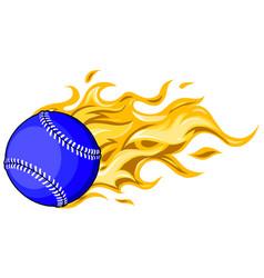 flaming baseball softball ball cartoon vector image
