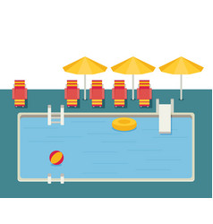 Flat pool hotel summer vacation vector