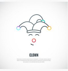 Funny clown thin line icon isolated vector