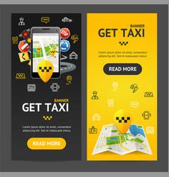 Get taxi service banner vecrtical set vector
