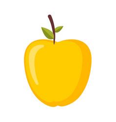 Gold apple isolated yellow ripe fresh juicy fruit vector