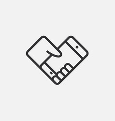 hand holding smartphone flat icon single high vector image