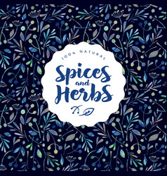Herbs spices logo watercolor seamless pattern vector