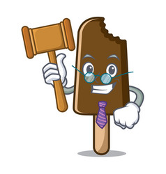 Judge chocolate ice cream mascot cartoon vector