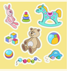 kids toys cartoon colorful sticker set vector image