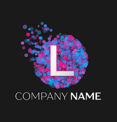 letter l logo with blue purple pink particles vector image