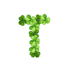letter t clover ornament vector image