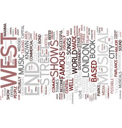 London s west end text background word cloud vector