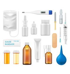 Medicine bottles spray glass vials thermometer vector